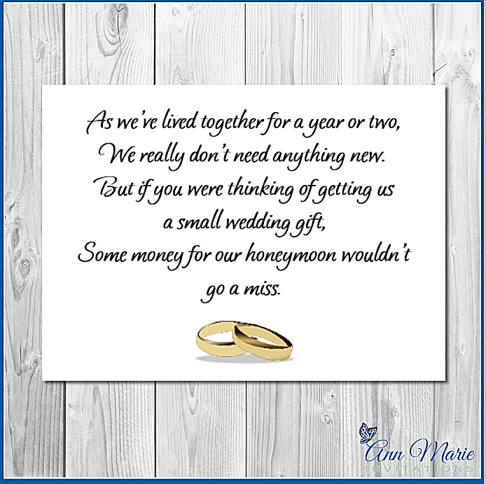 10 PERSONALISED WEDDING MONEY POEM / GIFT POEM CARDS / HONEYMOON ...