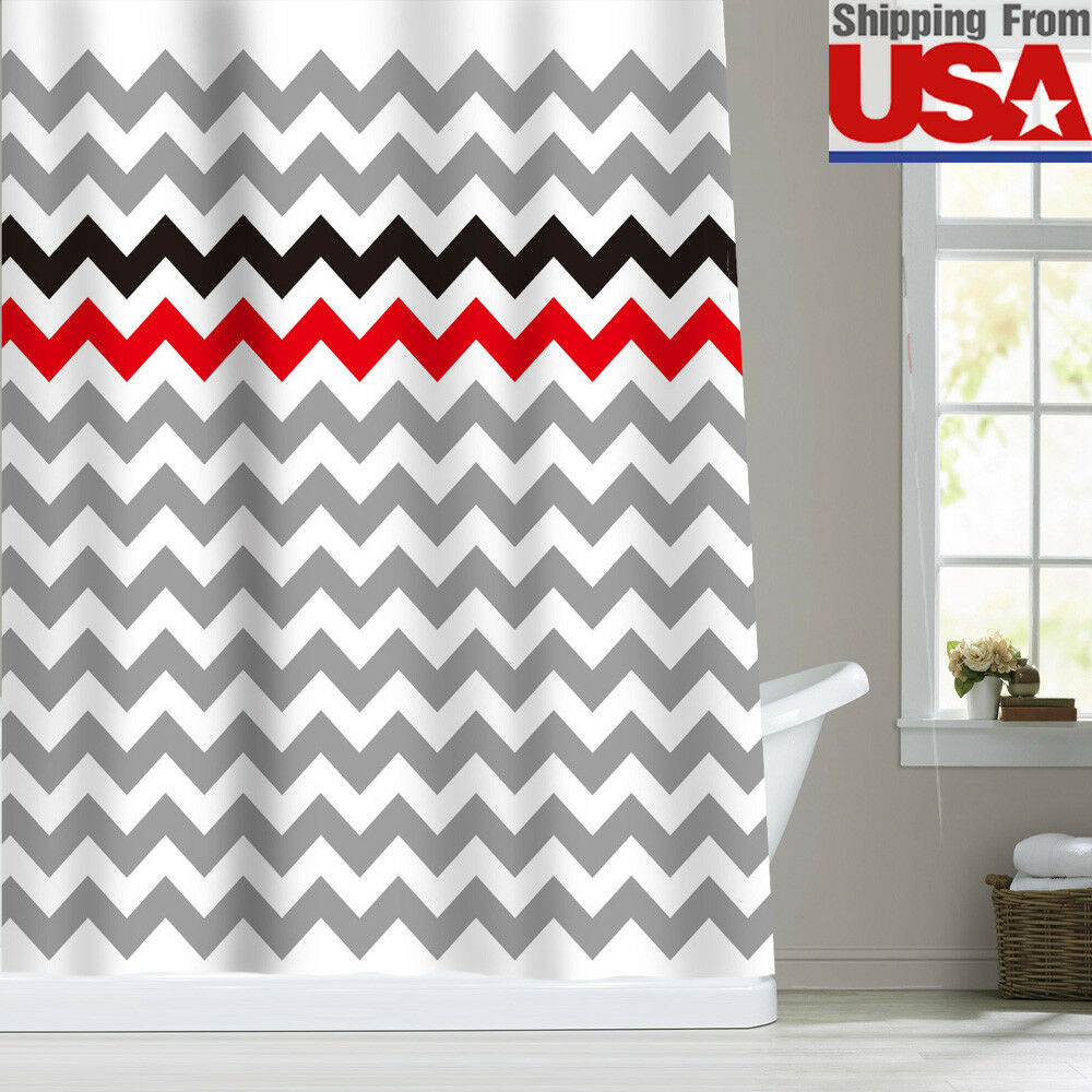 Zigzag Stripes Chevron Fabric Bathroom Shower Curtain Red Black Gray White 72