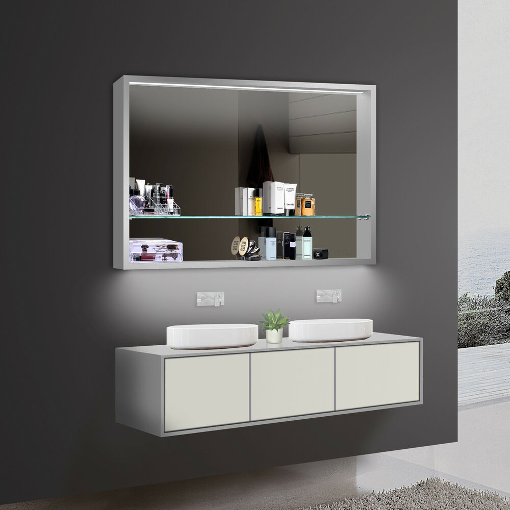 design badezimmer spiegel spiegelschr nke spiegelregal led beleuchtung lkj100x75 ebay. Black Bedroom Furniture Sets. Home Design Ideas