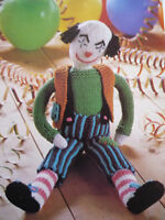 VINTAGE KNITTING PATTERN BOBBO THE CLOWN COLOURFUL SOFT TOY