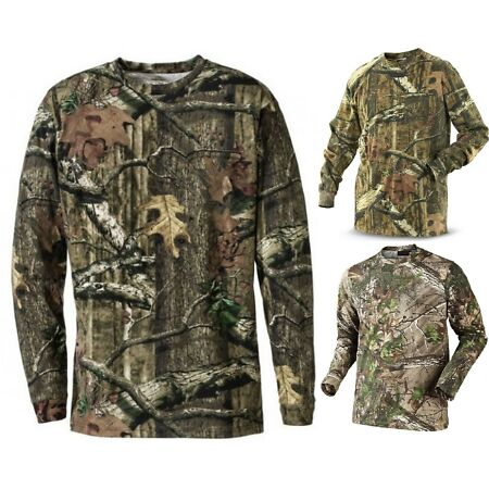 img-Mens Camouflage Camo Long Sleeve T Shirt Hunter Real Tree Jungle Forest Print