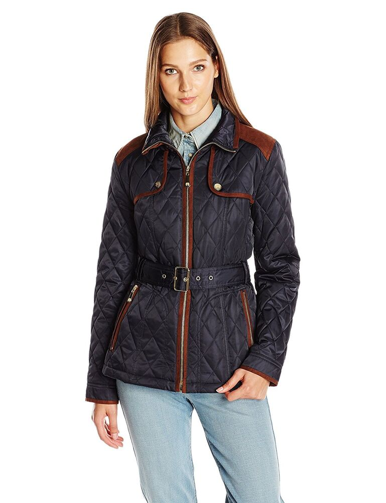 New Navy Vince Camuto Women S Quilted Barn Jacket L1611