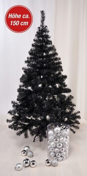 christbaum weihnachtsbaum tannenbaum k nstlich mit metallst nder 150cm schwarz ebay. Black Bedroom Furniture Sets. Home Design Ideas