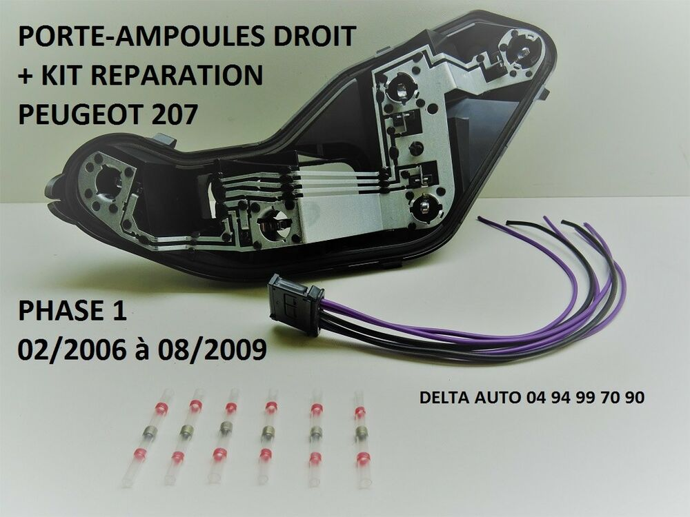 kit reparation connecteur platine porte ampoules peugeot 207 ph 1 droit neuf ebay. Black Bedroom Furniture Sets. Home Design Ideas