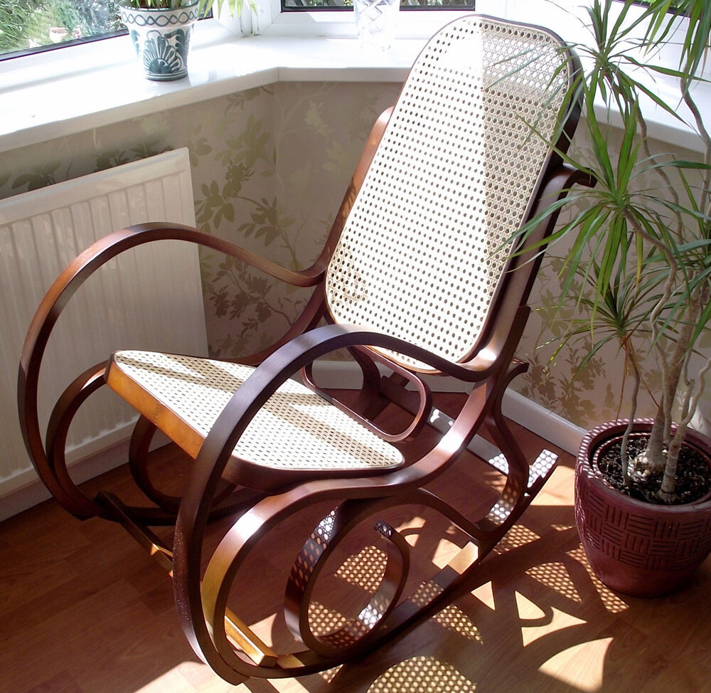 Bentwood Birch Walnut Rattan Seat Rocking Chair Thonet