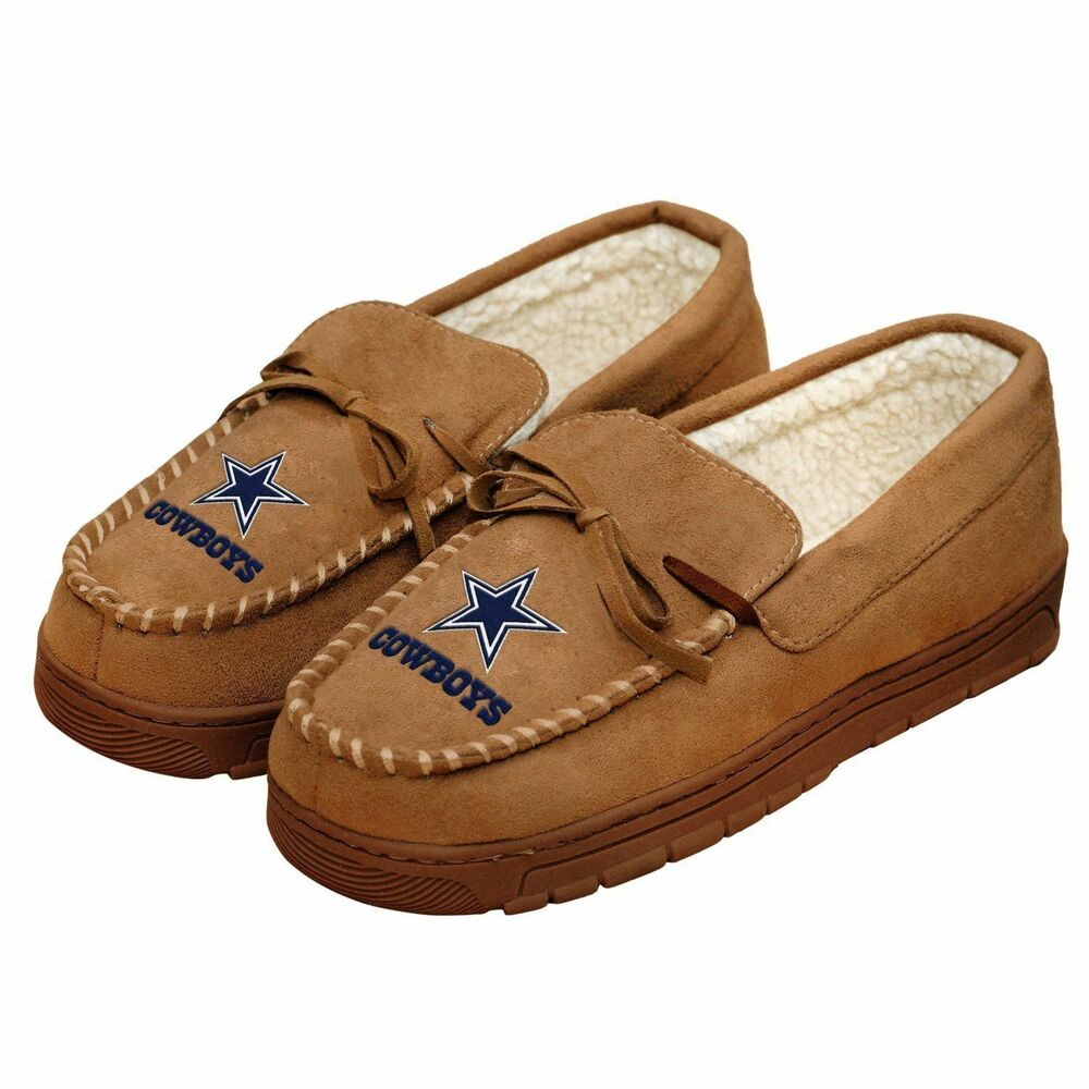 169e932eb32 Details about forever collectibles mens new dallas cowboys moccasins  slippers jpg 1000x1000 Cowboys slippers