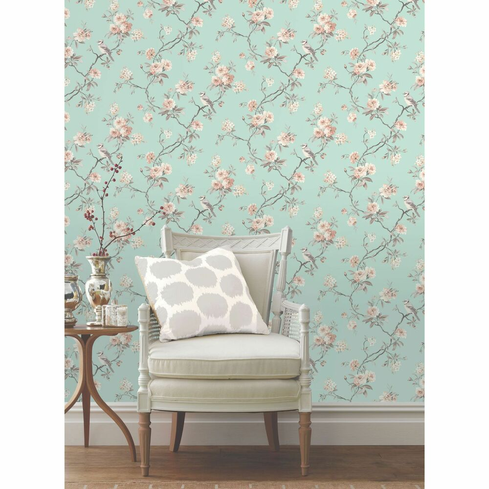 Wallpaper Designs For Walls: CHINOISERIE BIRD WALLPAPER TEAL FD40768 FLORAL FEATURE