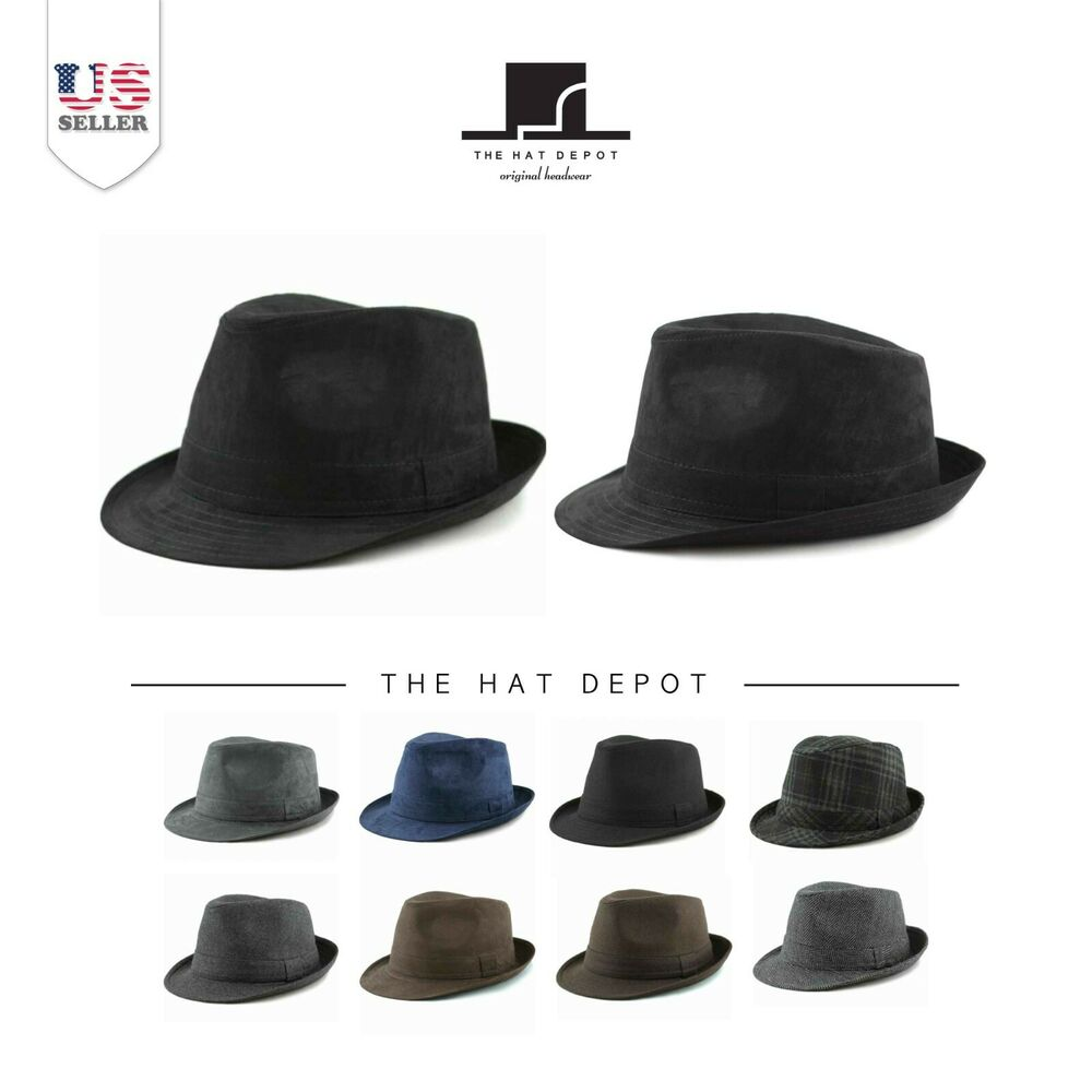 796f06bf3afc2 Details about Faux Suede Wool Blend Trilby Fedora Hats