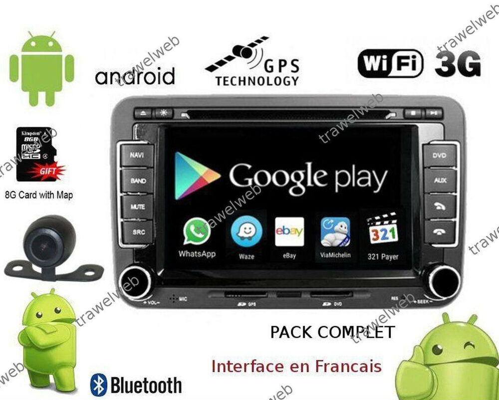 autoradio gps bluetooth wifi android vw golf 5 6 passat tiguan polo camera ebay. Black Bedroom Furniture Sets. Home Design Ideas