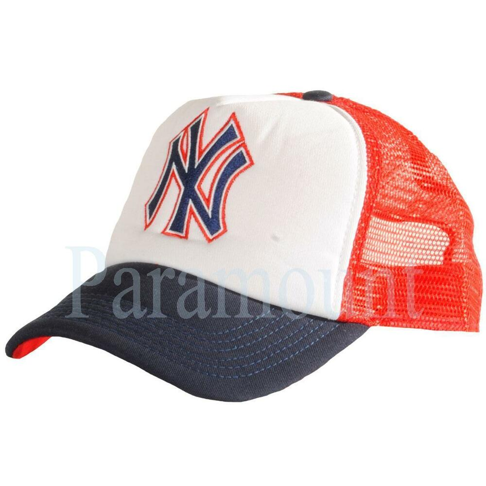 bbd691a7e21 Details about New Era NY Yankees Mesh Back Baseball Cap Red White Navy Mens