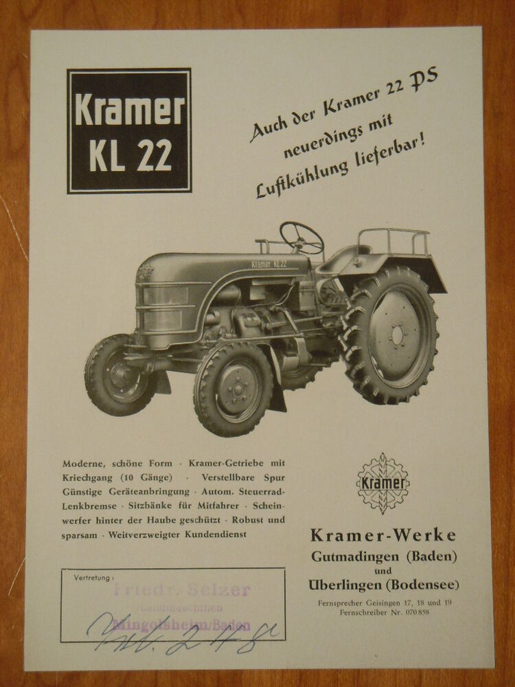 kramer kl 22 prospekt 1955 schlepper traktor ebay. Black Bedroom Furniture Sets. Home Design Ideas