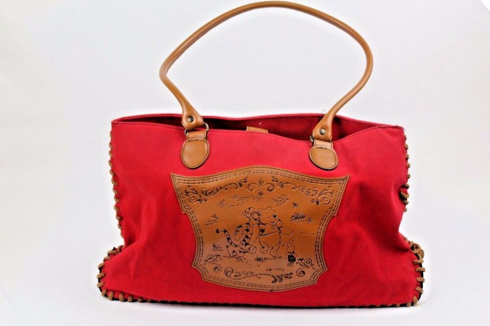 2f3ed1d8d9c7 Details about Disney Winnie the Pooh Red Canvas   Tan Leather Large Tote  Bag Embroidered