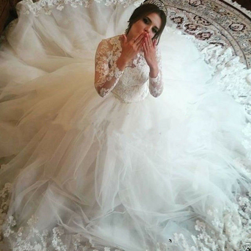fe2ceee94 Cinderella Lace Bridal Ball Gown Long Sleeve Muslim White Princess ...