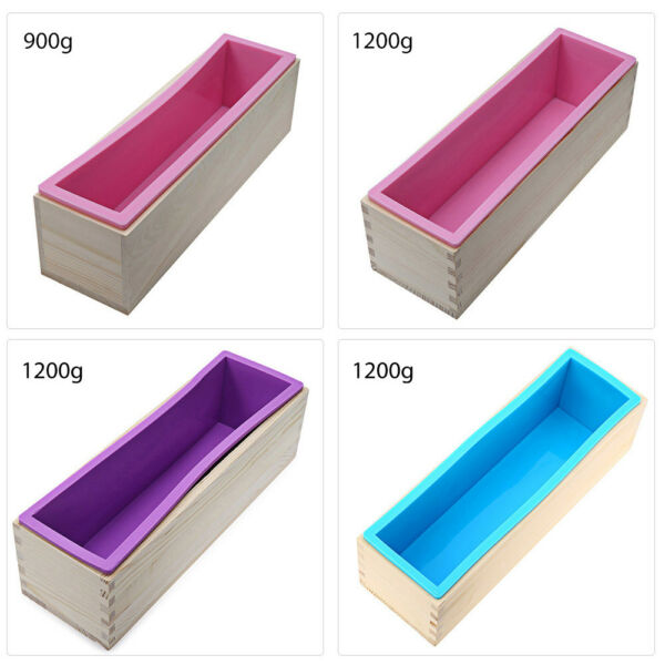 900g / 1200g Rectangle Silicone Soap Loaf Mold Wooden Box Home DIY Making Tools