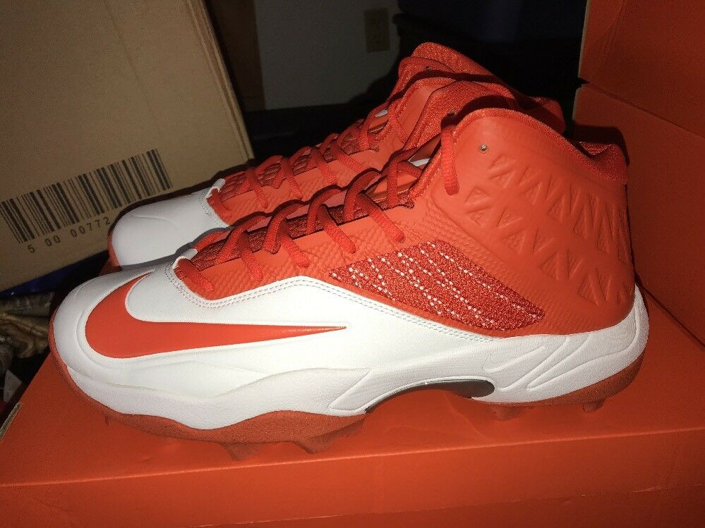 284463606e68d Details about DS Nike Zoom Code Elite 3 4 Shark Mens White Orange Football  Cleats Size 13.5