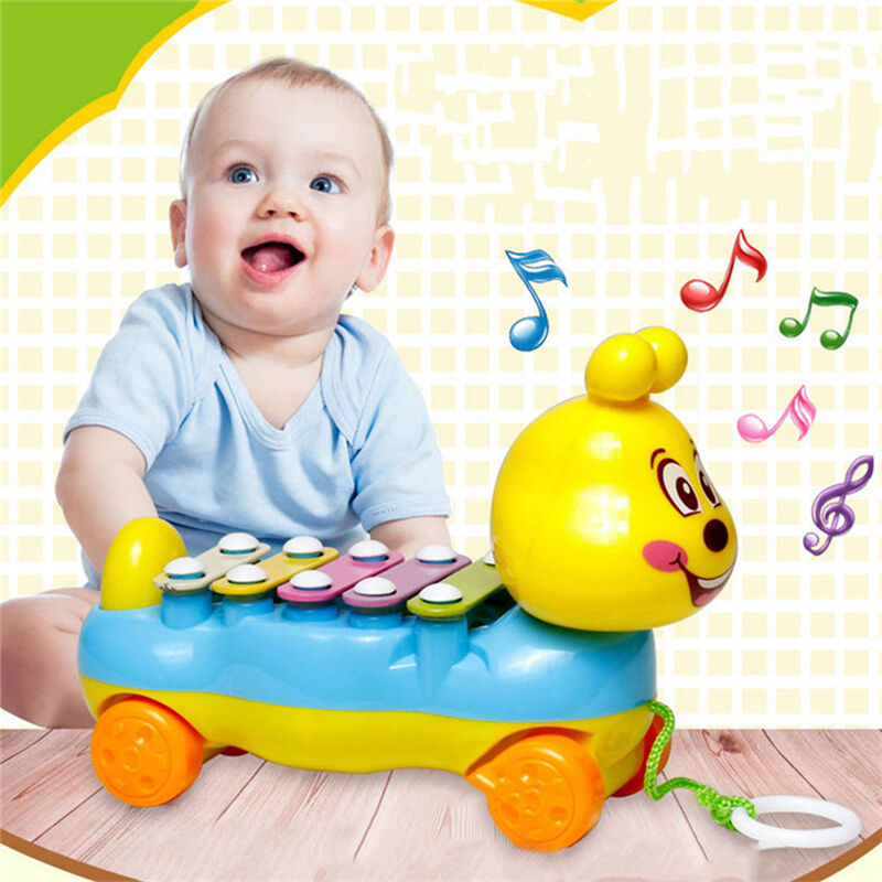 Baby Kids Cute 5-Note Xylophone Pull-Along Musical