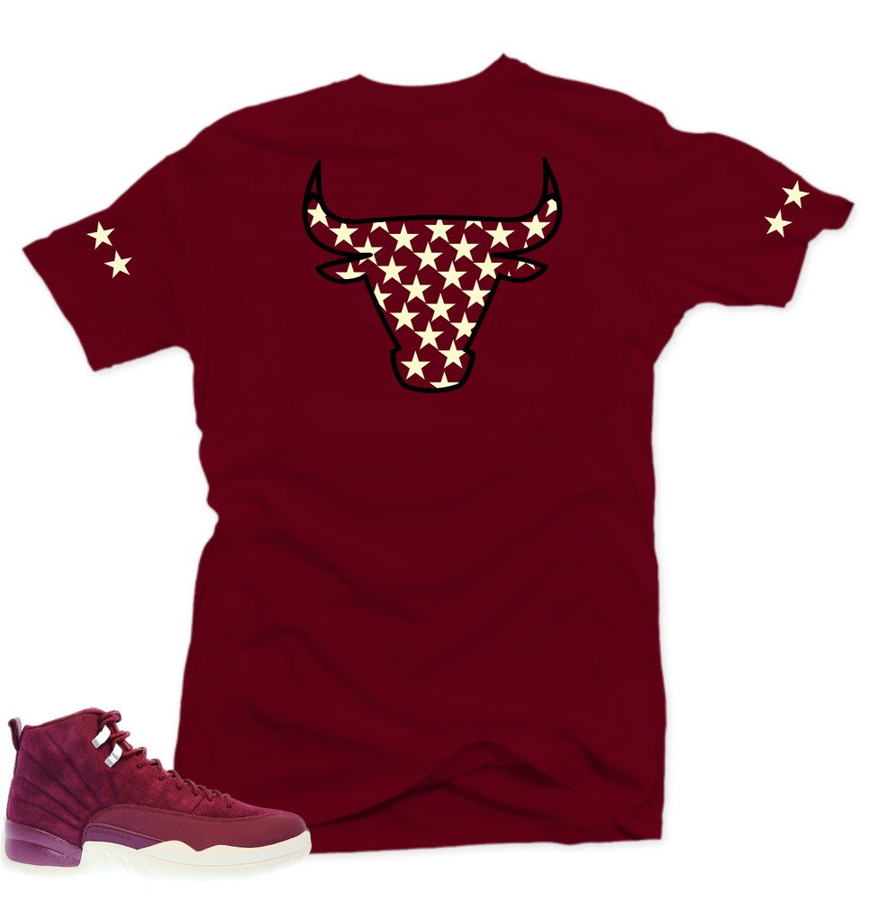 d91c596dfd28 Details about Shirt to match Air Jordan Retro 12 Bordeaux Sneakers.Bull XII  Maroon Tee