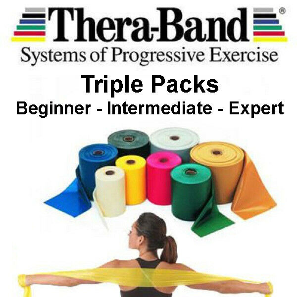 3 Theraband Thera-band Resistance Bands DISCOUNTED Set