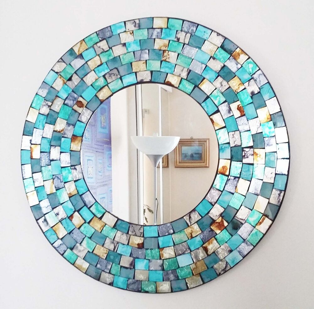 Unbranded round mosaic decorative mirrors ebay round teal gold mosaic wall mirror 40cm hand made in bali new amipublicfo Image collections