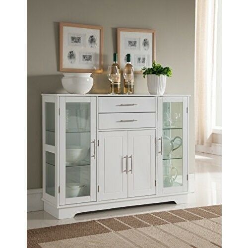 Kitchen Buffet Cabinet With Glass Doors China Display Sideboard Storage White