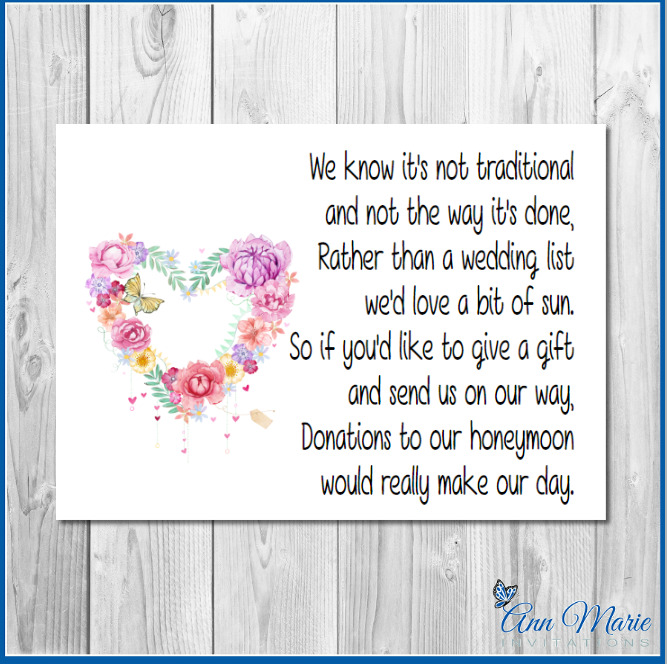 10 PERSONALISED WEDDING MONEY POEM / HONEYMOON WISH POEMS