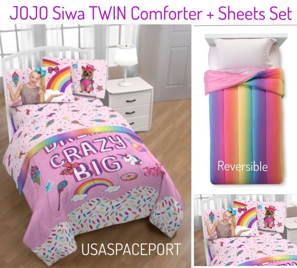 2017 Jojo Siwa 4pc Rainbow Comforter Sheets Set Twin