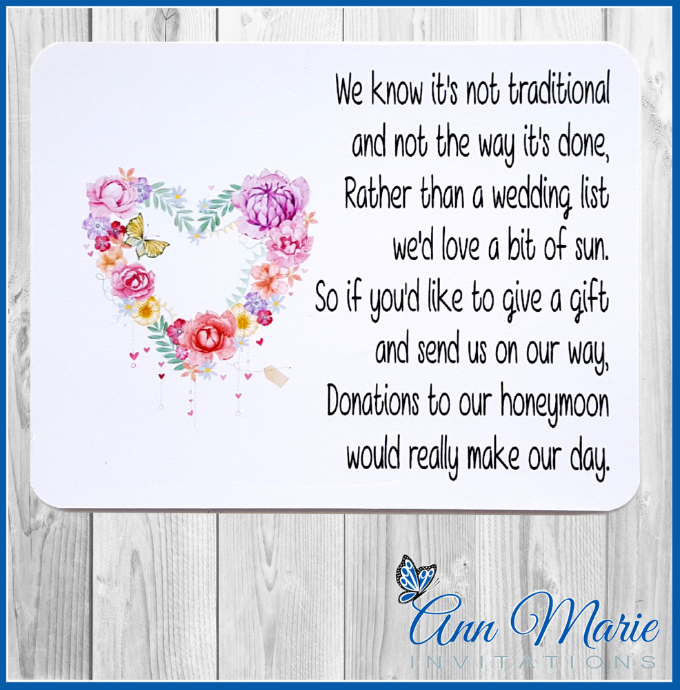 Wedding Gift Wording For Honeymoon: 50 PERSONALISED WEDDING MONEY POEM / HONEYMOON WISH POEMS