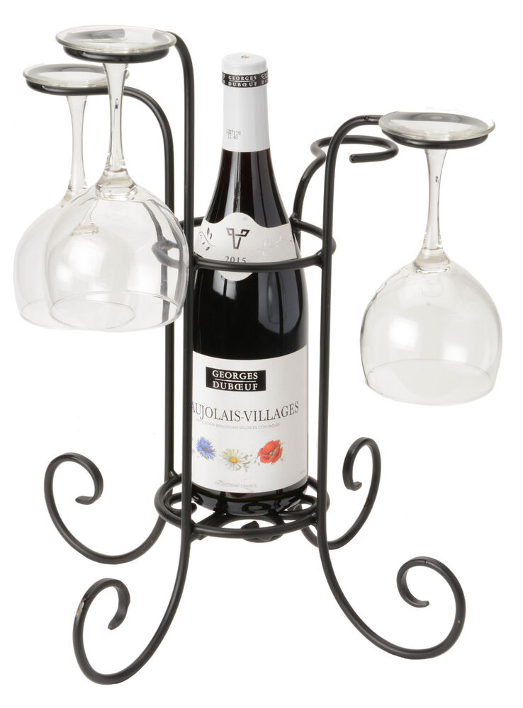 Wine Bottle Glass Holder Amish Hand Forged Wrought Iron Table
