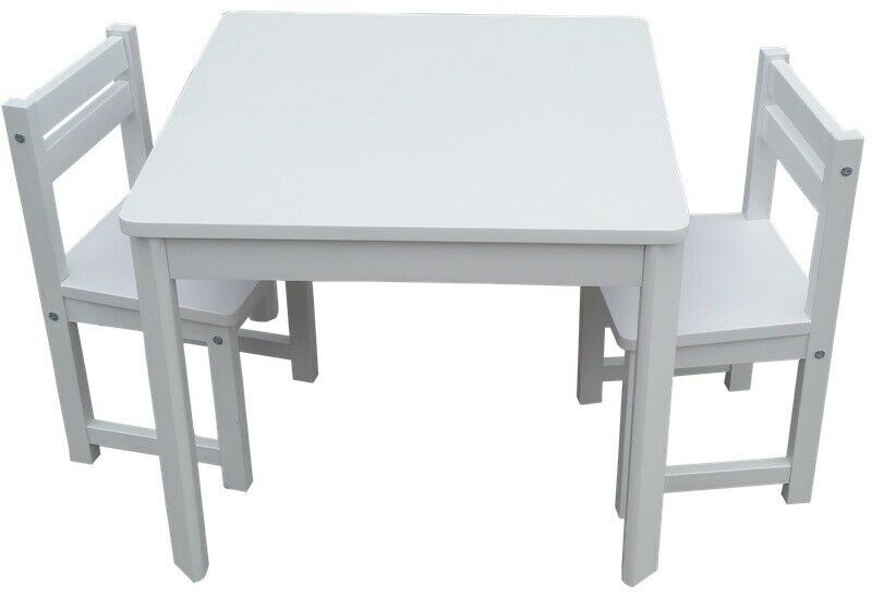 White Patio Table And Chair Set: Kids Timber Table And Chair Set In Colour White Boys Girls