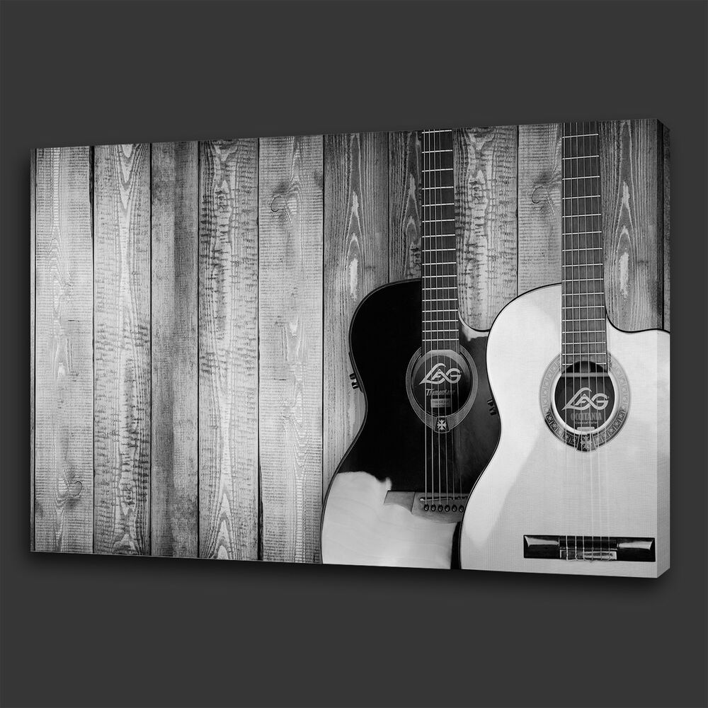 Details about vintage black and white guitars music box canvas print wall art picture photo