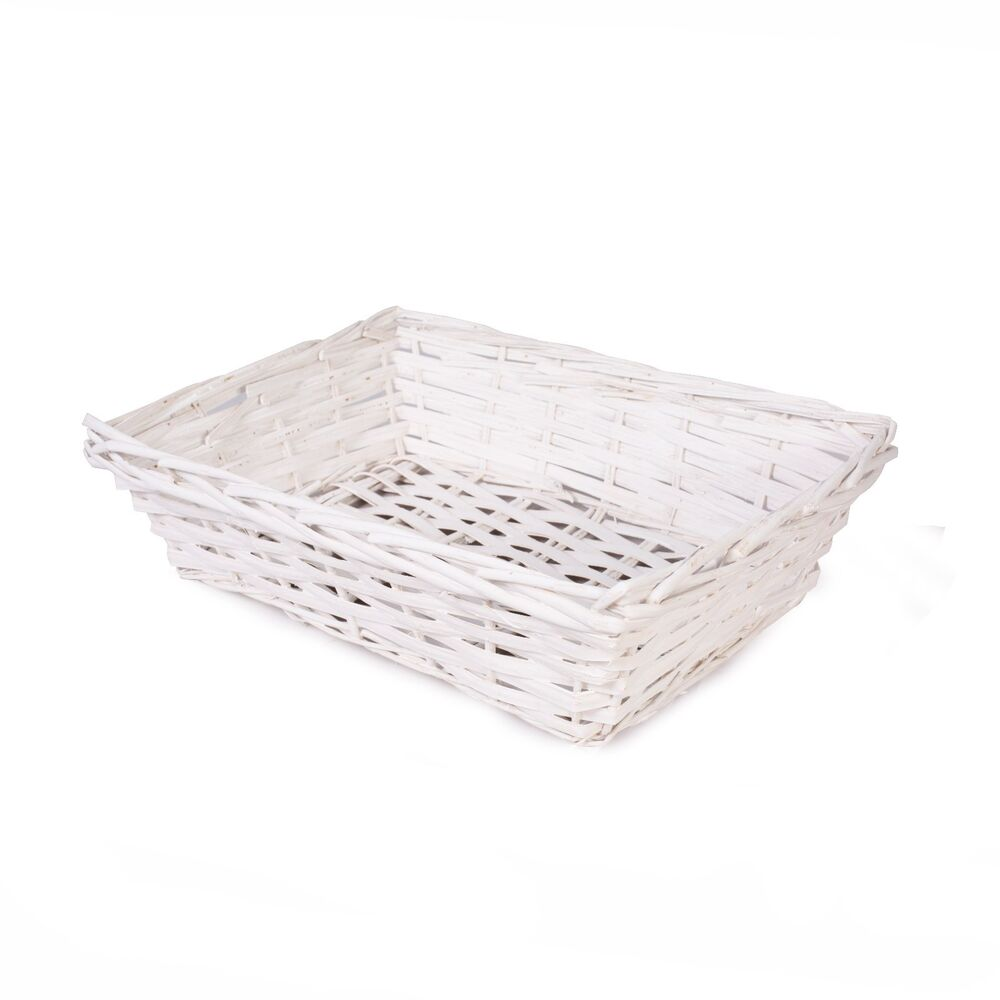 Details About Pure White Wicker Trays Retail Display Christmas Gift Hampers Ng