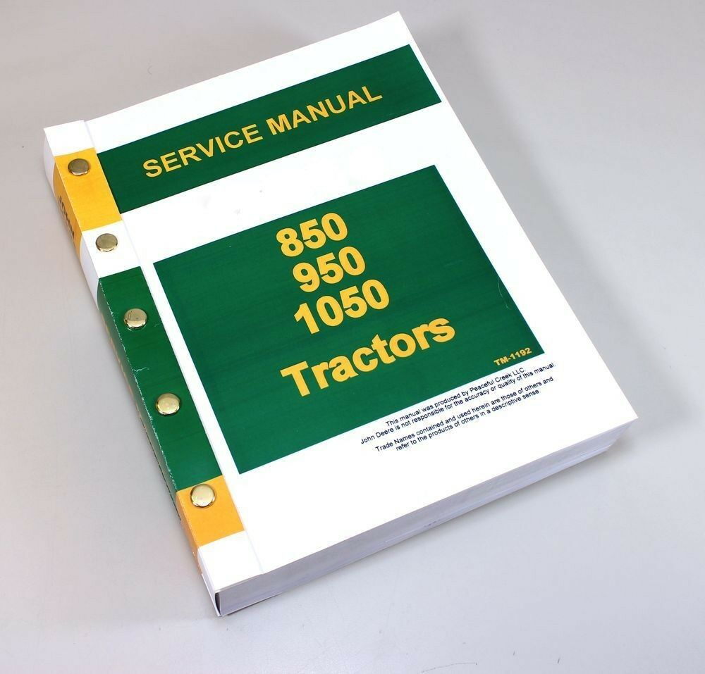SERVICE MANUAL FOR JOHN DEERE 850 950 1050 TRACTOR REPAIR TECHNICAL SHOP  BOOK | eBay