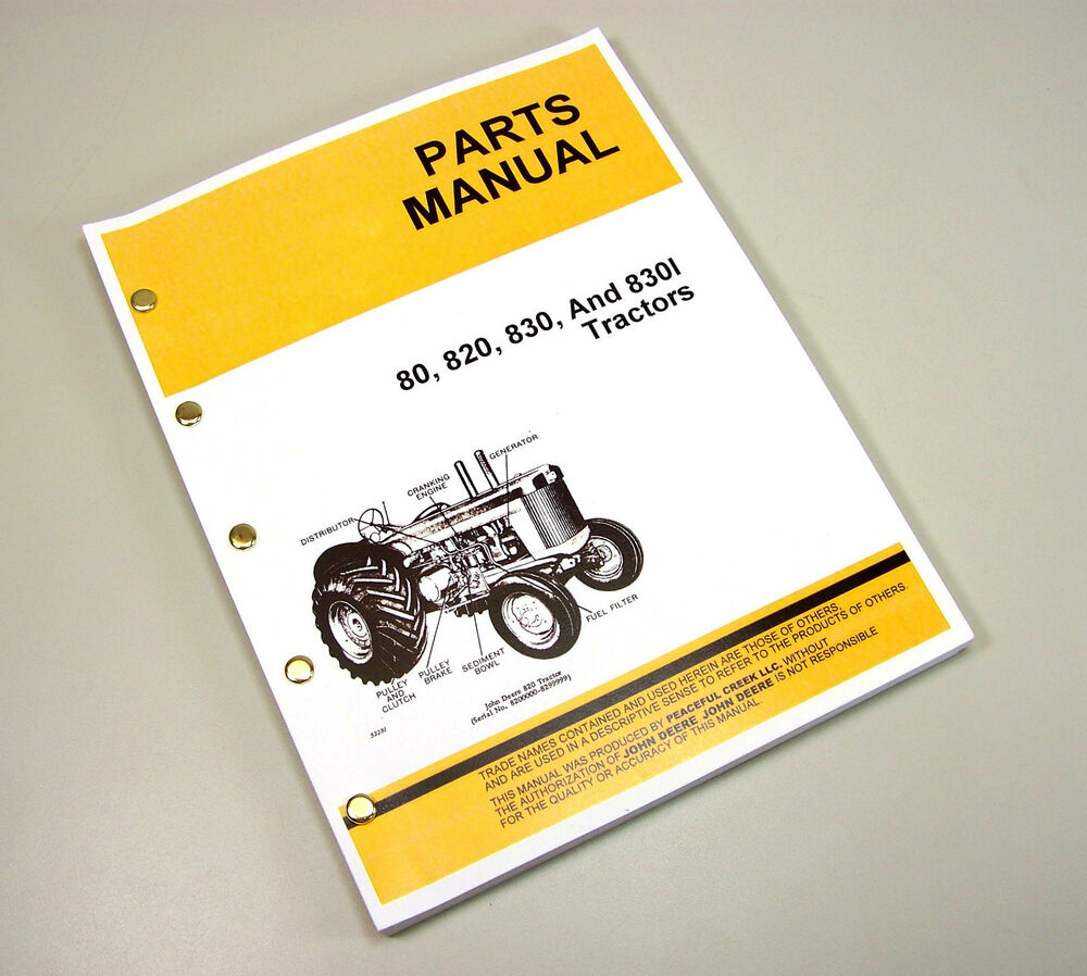 PARTS MANUAL FOR JOHN DEERE 80 820 830 830I TRACTOR GAS DIESEL ALL YEARS |  eBay