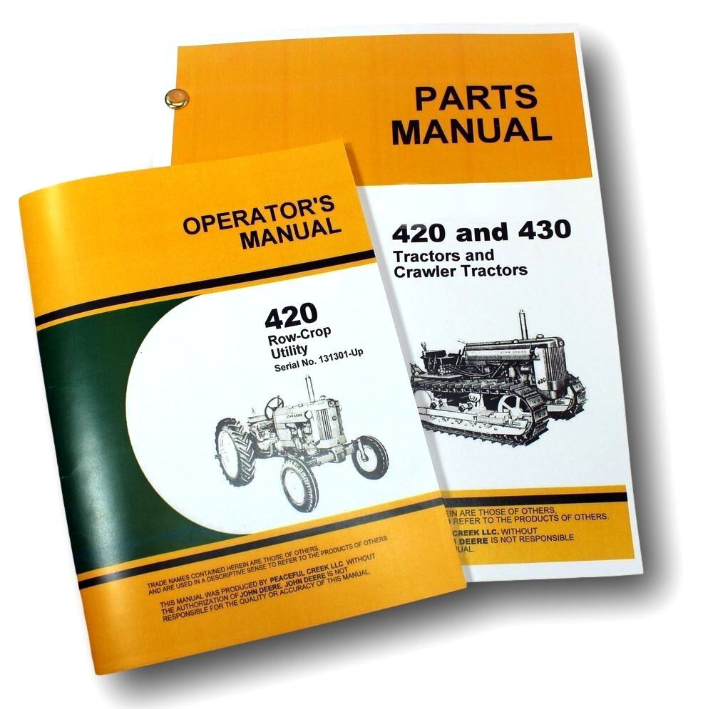 OPERATOR PARTS MANUAL SET FOR JOHN DEERE 420W 420 ROW CROP UTILITY TRACTOR  OWNER | eBay