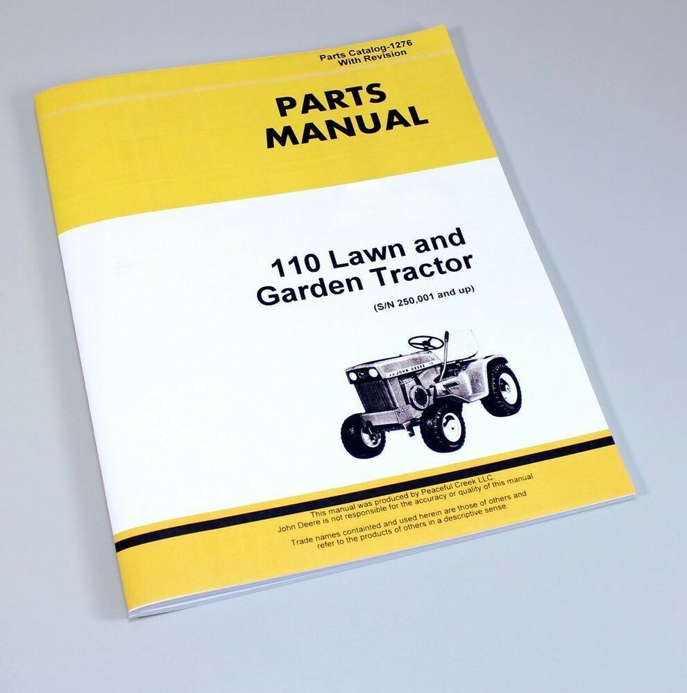PARTS MANUAL FOR JOHN DEERE 110 LAWN GARDEN TRACTOR MOWER CATALOG SN  250001+ | eBay