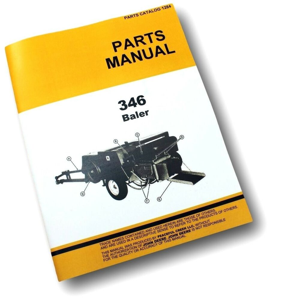 PARTS MANUAL FOR JOHN DEERE 346 HAY BALER KNOTTER SQUARE EXPLODED VIEWS  ASSEMBLY | eBay