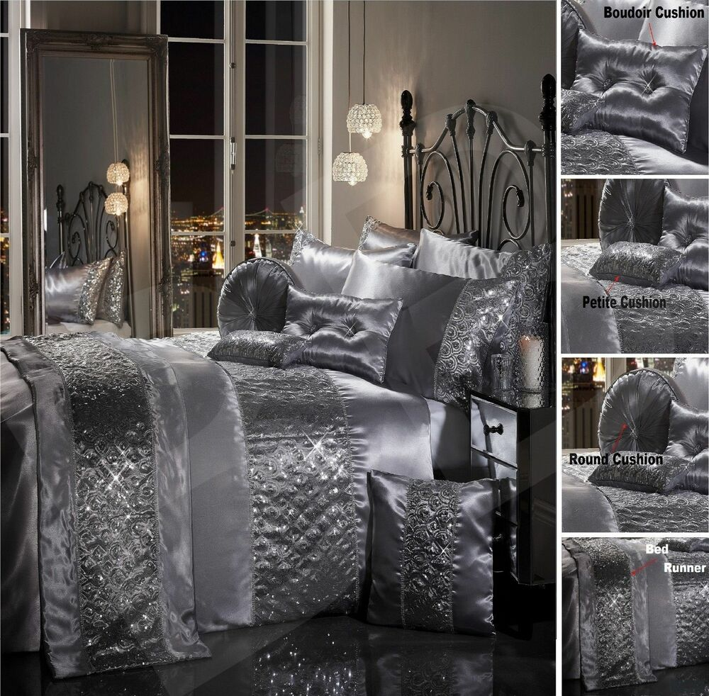 silver bed set sparkle sequin luxury diamante duvet quilt cover bedding 13148