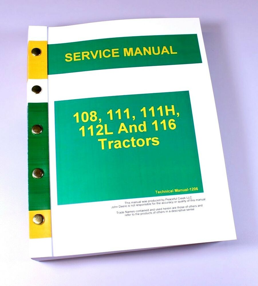 SERVICE MANUAL FOR JOHN DEERE 108 111 111H 112L 116 LAWN GARDEN TRACTOR  MOWER | eBay