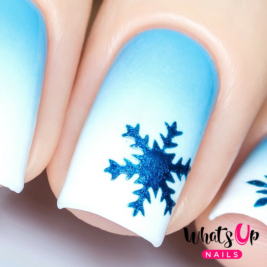 Details about Silver Jolly Snowflakes Stencils for Nails, Christmas Nails, Nail Art