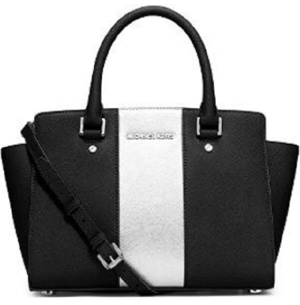 a5bec931af Details about new Michael Kors Selma black metallic silver center Stripe  Saffiano leather bag