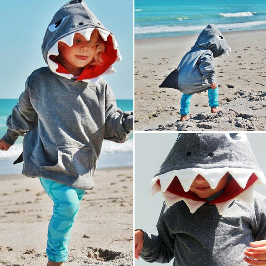 7e8838d83a47 US Stock Toddler Kids Boys Shark Hooded Tops Hoodie Jacket Coat ...