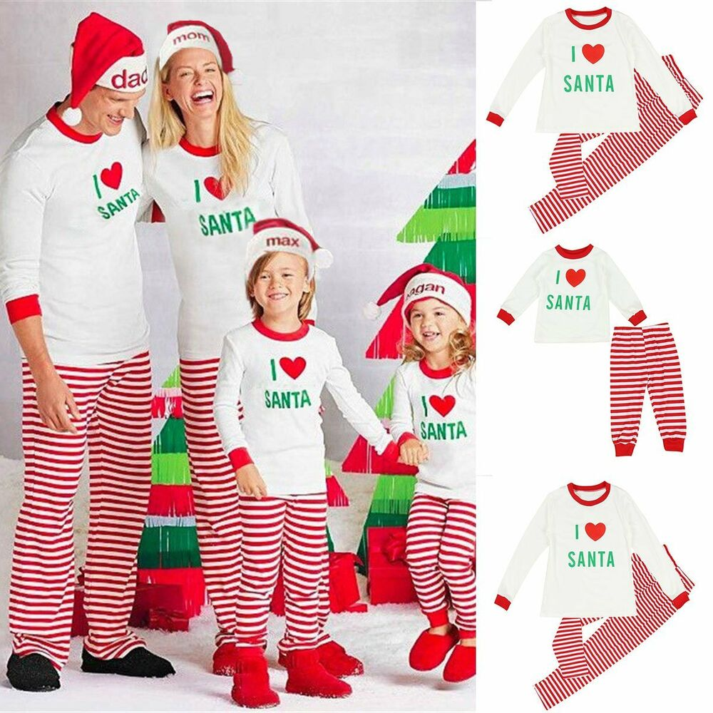 b9a9e38363 Details about Family Matching Christmas Pajamas PJs Sets Xmas Sleepwear  Nightwear Tops   Pants