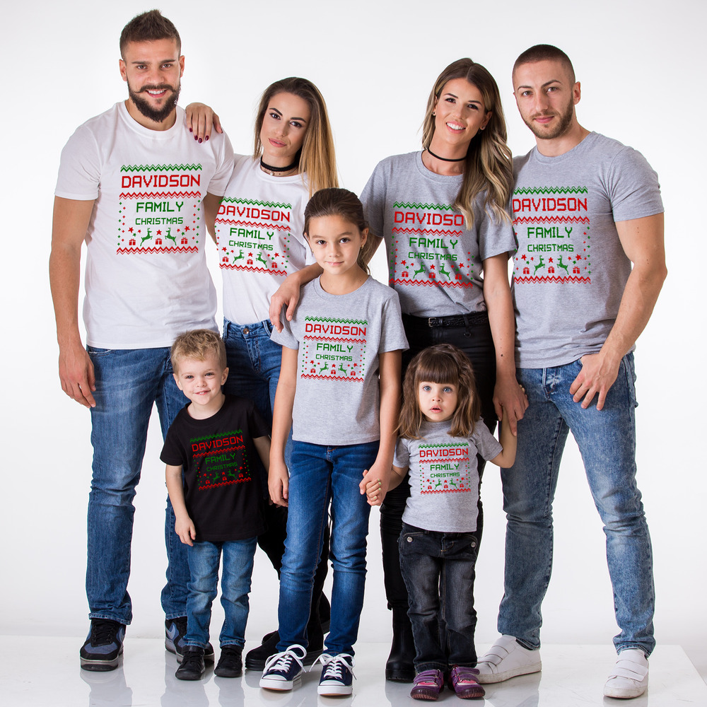 d4c1b45bf5 Details about Christmas Family Matching Shirts with Custom Name Family Name  Set