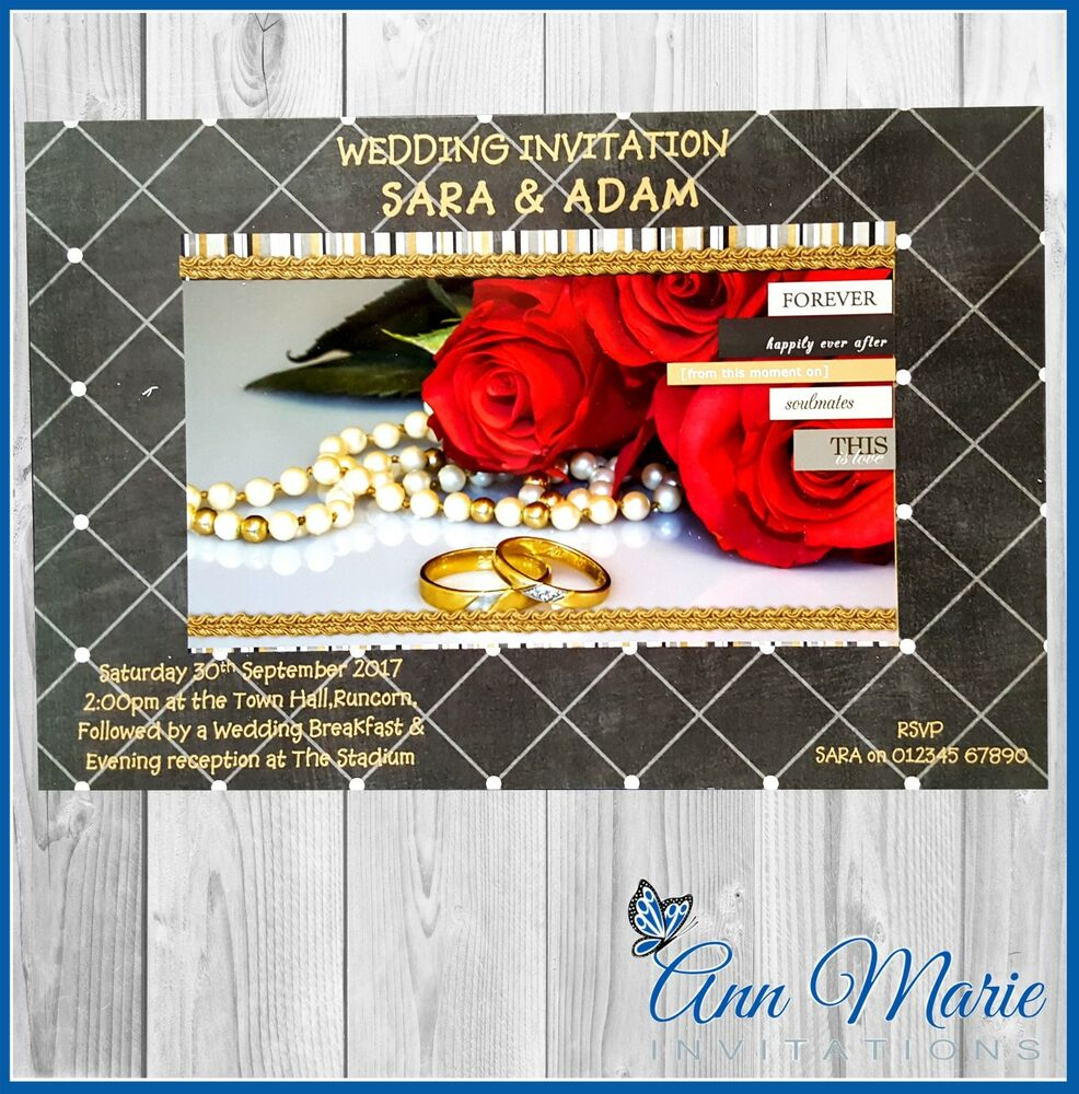 10 x PROFESSIONAL PERSONALISED WEDDING DAY INVITATION CARDS ROSES ...