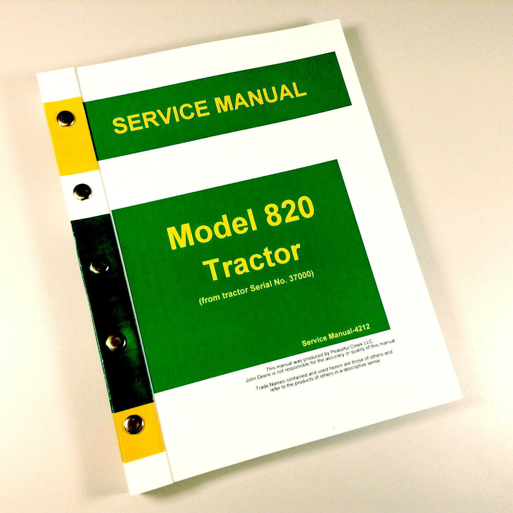 SERVICE MANUAL FOR JOHN DEERE 820 TRACTOR TECHNICAL REPAIR SHOP BOOK OVHL |  eBay