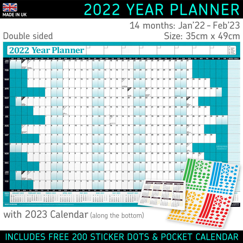 Year Calendar Chart : Yearly planner annual wall chart year planer in grey