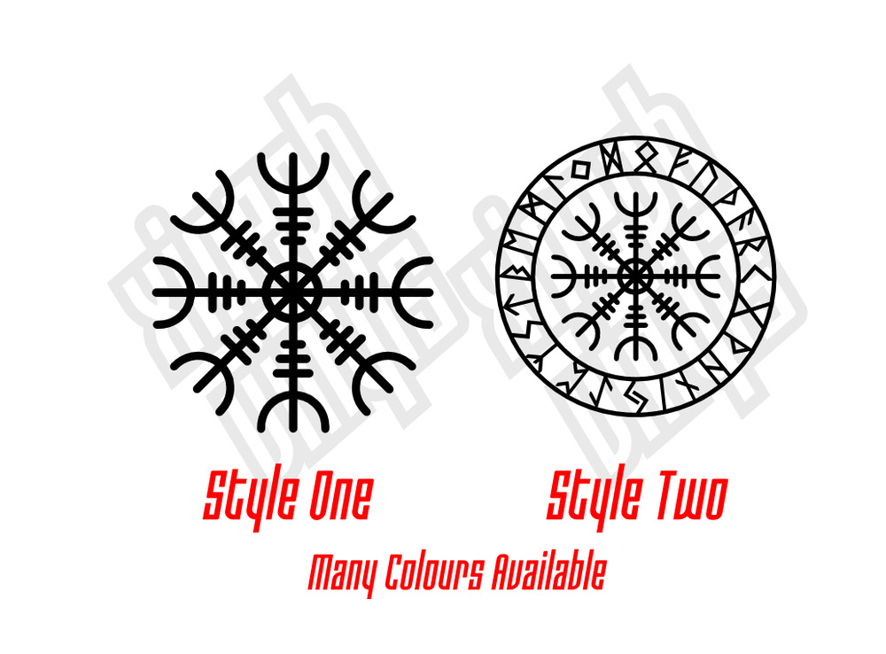 helm of awe runic compass vinyl sticker decal car window tattoo viking norse ebay. Black Bedroom Furniture Sets. Home Design Ideas