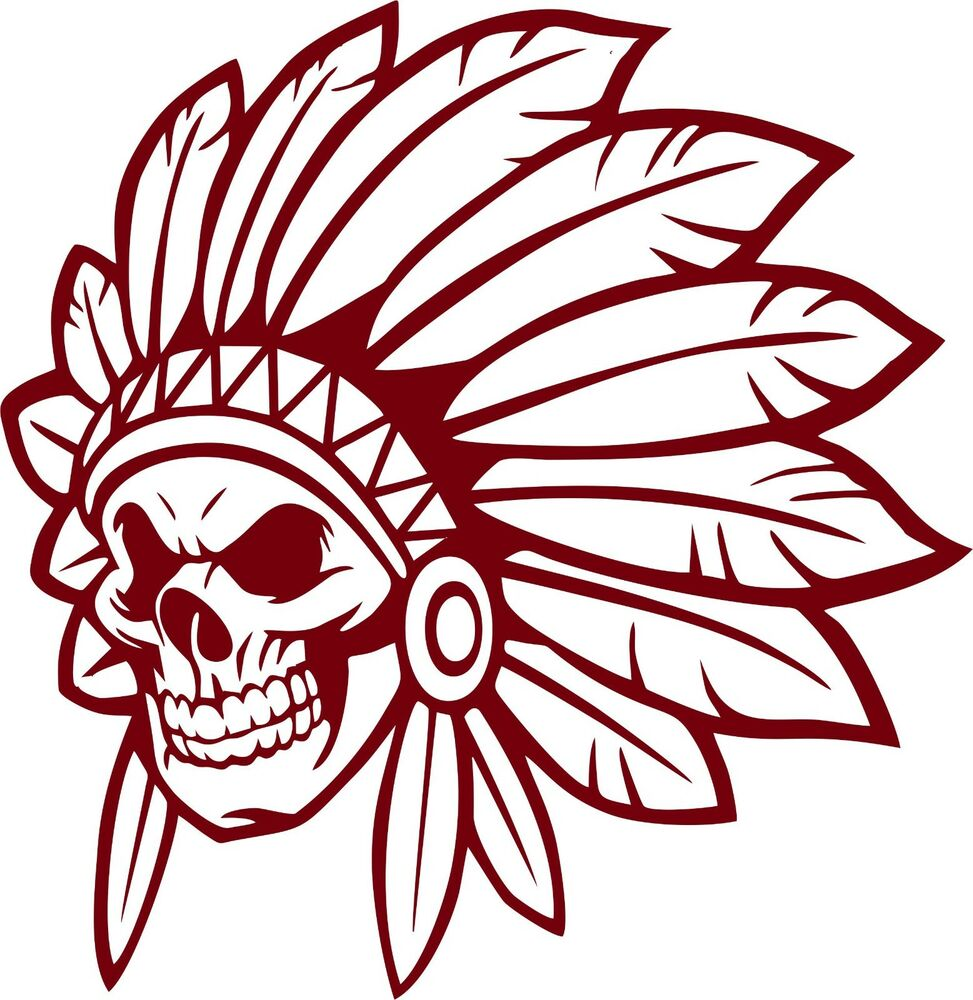 Details about native indian skull face skeleton headdress car truck window vinyl decal sticker