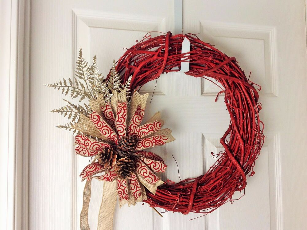 Rustic Christmas Wreath Red Winter Outdoor Wreath Decor Decoration 18 Garland Ebay