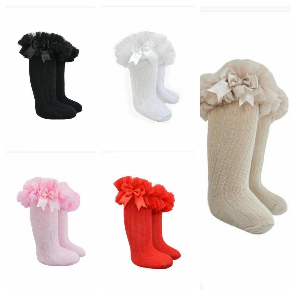 056a2bdb2371a Details about Girls Babies Winter Knee High Bow Frill Socks Tights Age New  Born to Age 6 year